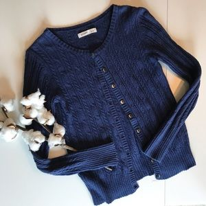 Navy Cable-Knit Cardigan